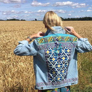 Fashion women's ethnic printed denim jacket
