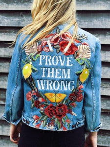 European and American printed denim jacket