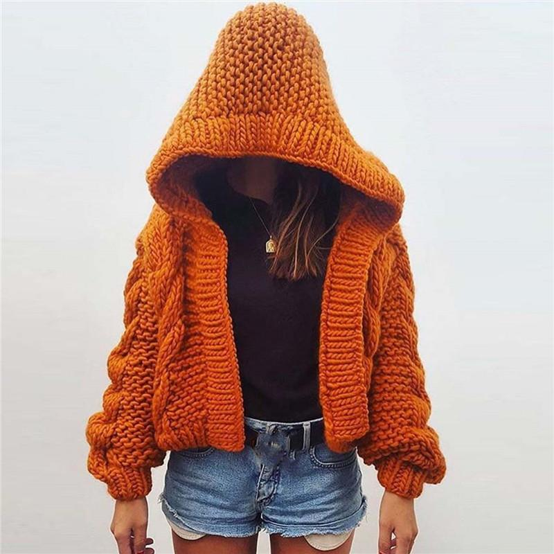 Solid color long sleeve knit hoodie