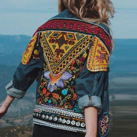 folk fashion embrodery long sleeves Contrast Colour jacket