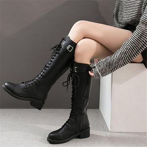 Retro belt buckle lacing pure color thigh-high boots