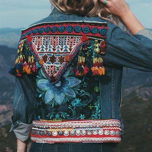 folk fashion tessel patchwork long sleeves denim jacket