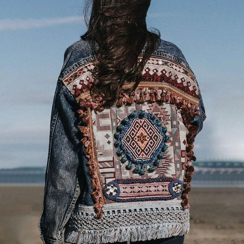 Denim Back Print Jacket