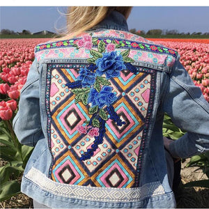 Fashion women's ethnic print embroidered denim jacket