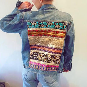 Women's fashion back print denim jacket