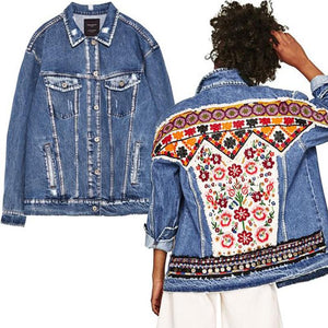Streetwear Long Sleeve Embroidery Stand Collar Jacket