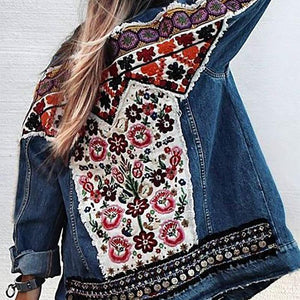 Women's Casual Turndown Collar Printed Color Loose Jacket