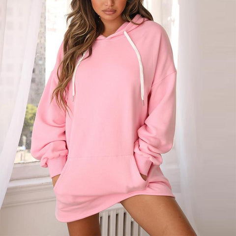 Fashion solid color stitching hooded pullover sweater