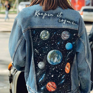Fashion casual patchwork denim jacket