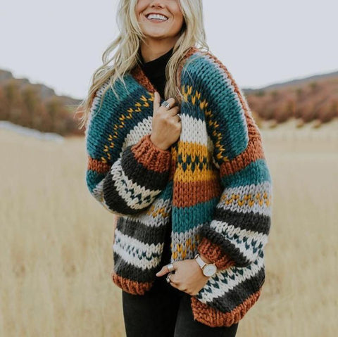Casual colorblock knit cardigan sweater