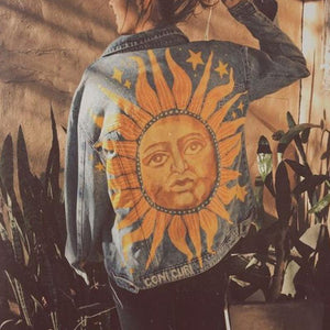 Fashion casual print denim jacket