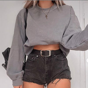 Fashion solid color round neck cropped sweater