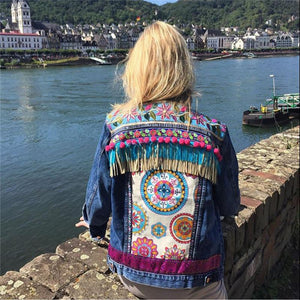 Fashion women's tassel embroidery denim jacket