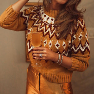 Casual Long Sleeve Brocade Sweater