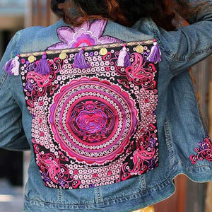 Women's embroidered slim denim jacket