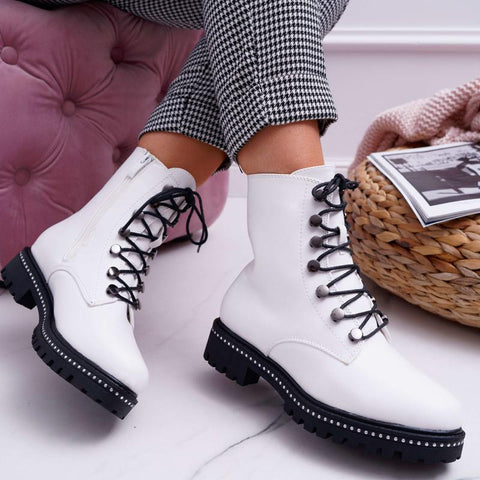 Women's casual solid color side zipper Martin boots