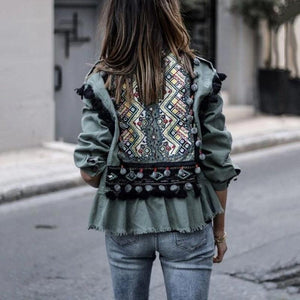 Fashion stitching trimmed short jacket