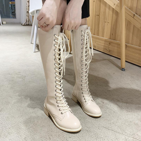 Classic lacing pure color round-toed high boots