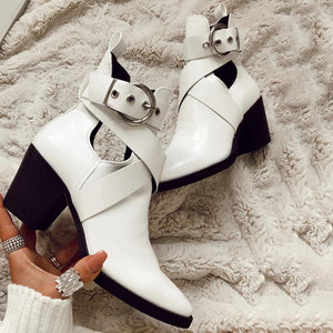 Women's fashion solid color openwork buckle ankle boots