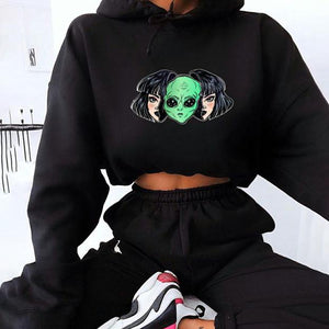 Alien printed crew neck long sleeve sweater