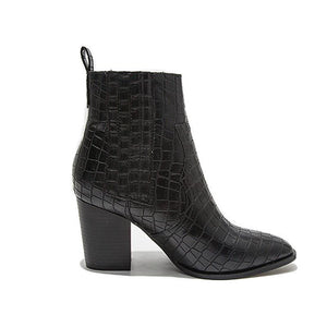Fashion snakeskin pure color thick heel ankle boots