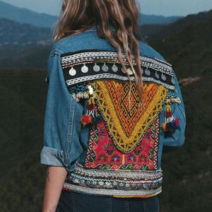 Fashion Embroidery Tassel Denim Jacket
