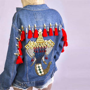 Women's Embroidered Denim Jacket Top