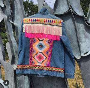 Fringed woven printed denim jacket