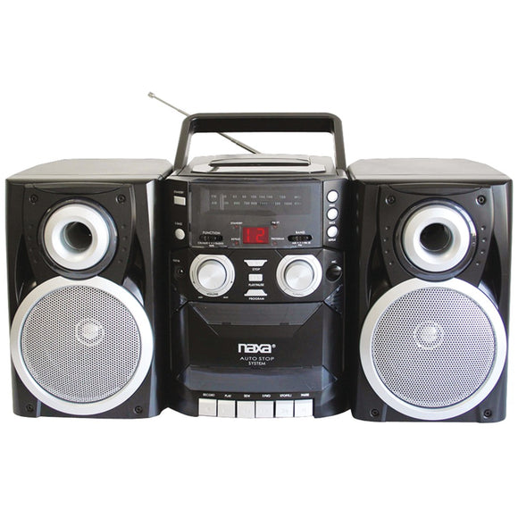 Naxa Portable Cd Player With Am And Fm Radio Cassette & Detachable Speakers