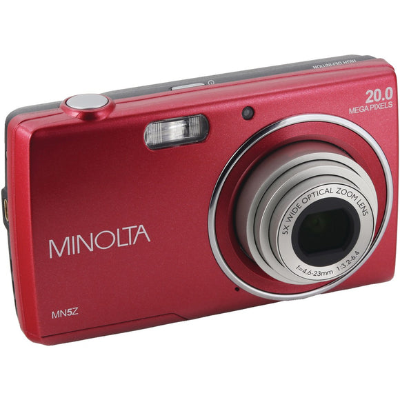 Minolta 20-megapixel Mn5z Hd Digital Camera With 5x Zoom (red)
