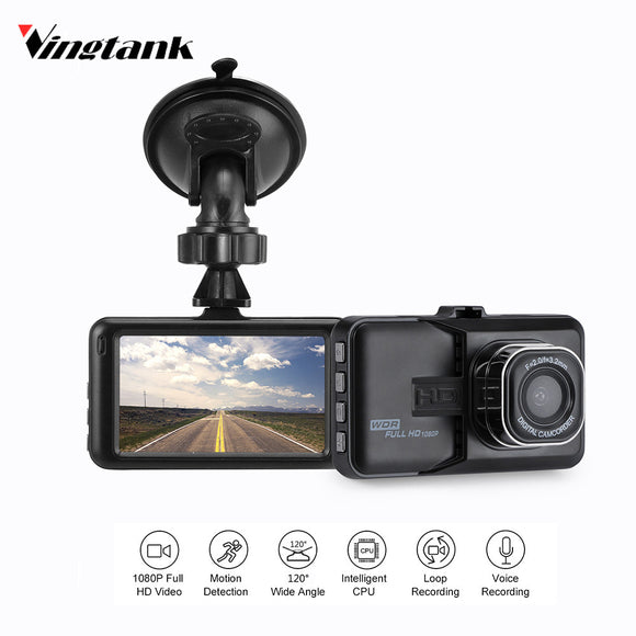 Vingtank Mini 3 inch Dash Camera Car DVR Dash Cam Video Recorder Support Motion Detection/G-sensor/Loop Video/IR Night Vision