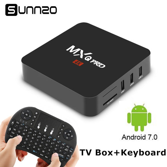 Smart TV Box Android 7.1 MXQ Pro TV BOX 1GB 8GB Quad Core 2.4GHz WiFi Stream Media Player Set Top Box With Wireless Keyboard