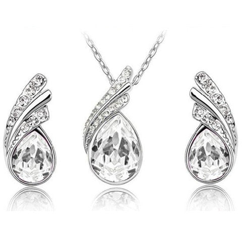 Angel Tear Drop Austrian Crystal Pendant & Earring Set