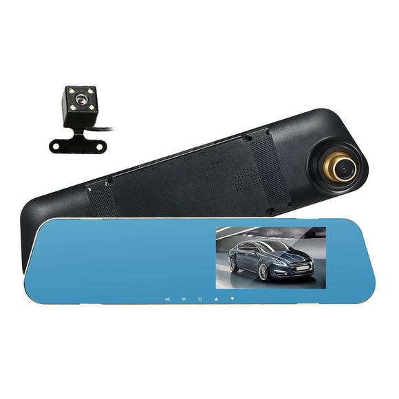 4.3'' HD Car DVR Dash Cam Video Camera Vehicle Driving Recorder Front & Rearview Mirror Car DVR with Loop Recording G-Sensor Motion Detection