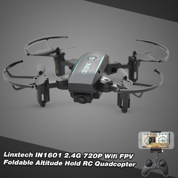 Linxtech IN1601 2.4G 0.3MP Wifi FPV Foldable Altitude Hold RC Drone Quadcopter