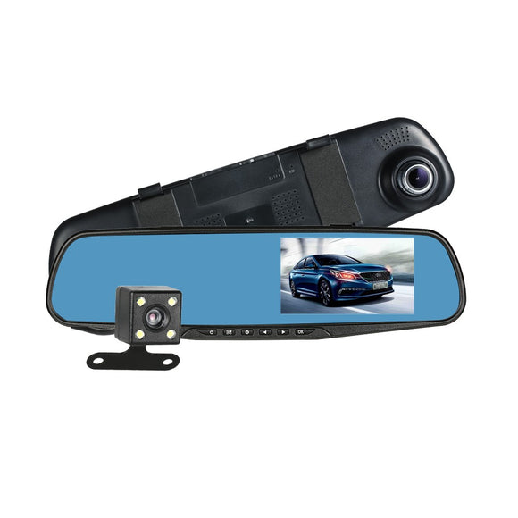FHD 1080P 4.3'' Dual Lens Car DVR Rear View Mirror Dash Cam Video Camera Recorder