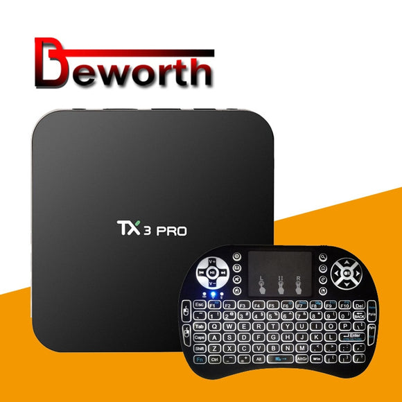 TX3 PRO Android 7.1 TV Box Amlogic S905W Quad Core 1GB 8GB H.265 DLNA WiFi LAN Smart Streaming Media Player Set-top Box