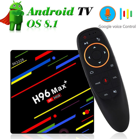 Dual Band Wifi TV Box with Google Voice Control 4GB 64GB RK3328 Quad Core 2.4G/5G Wifi Mini PC 4K Streaming Media Player TVbox