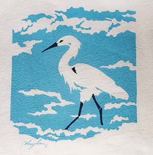 Egret tea towel