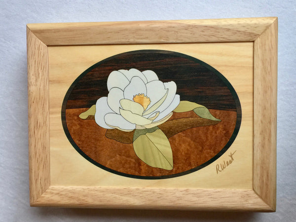 Inlaid Wood Gardenia Jewelry Box
