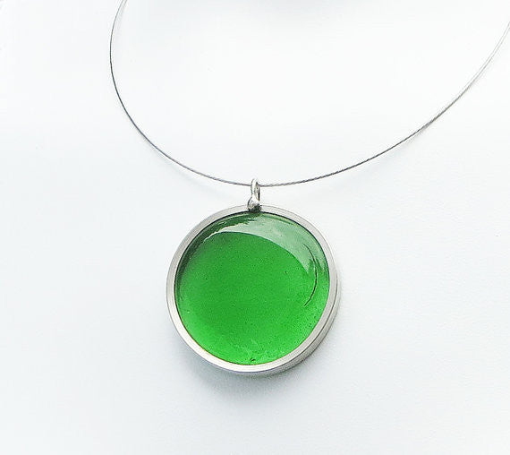 Clear Green glass pendant