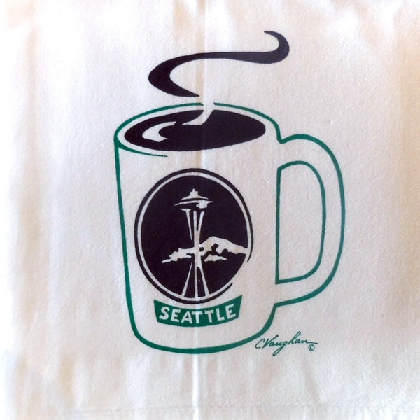 Seattle Coffee tea towel