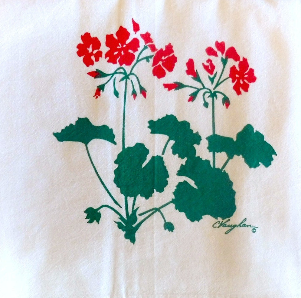 Geranium tea towel