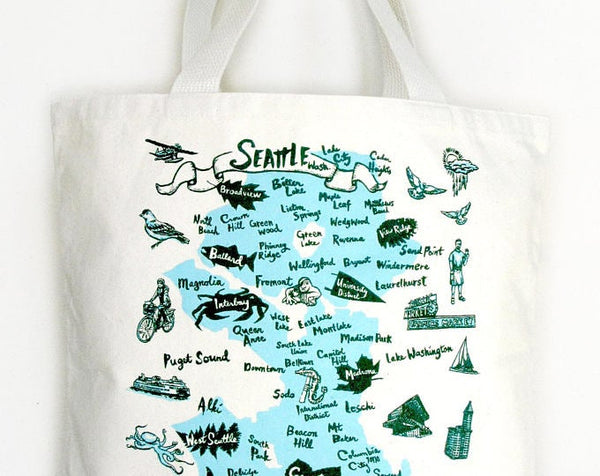 Seattle Neighborhoods canvas tote bag - Natural