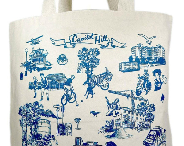 Capital Hill Neighborhood canvas tote bag
