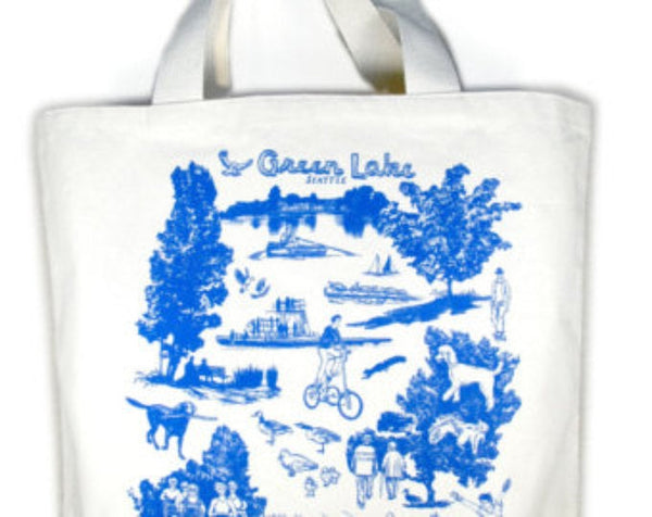 Green Lake Neighborhood canvas tote bag
