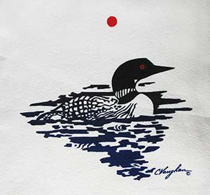 Loon tea towel