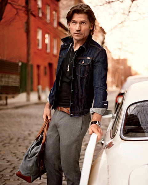 Nikolaj Coster-Waldau carrying Blue Claw in GQ