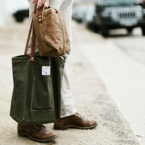 Waxed Canvas Market Tote Olive