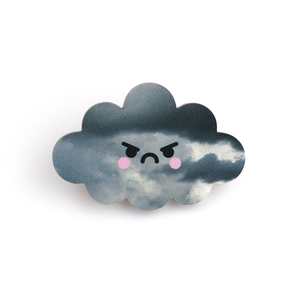 Angry Cloud Wooden Pin Badge